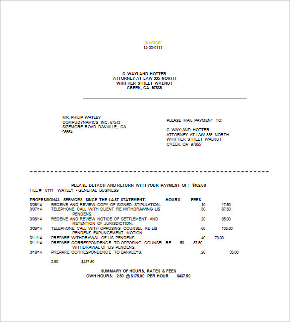 sample legal invoice template