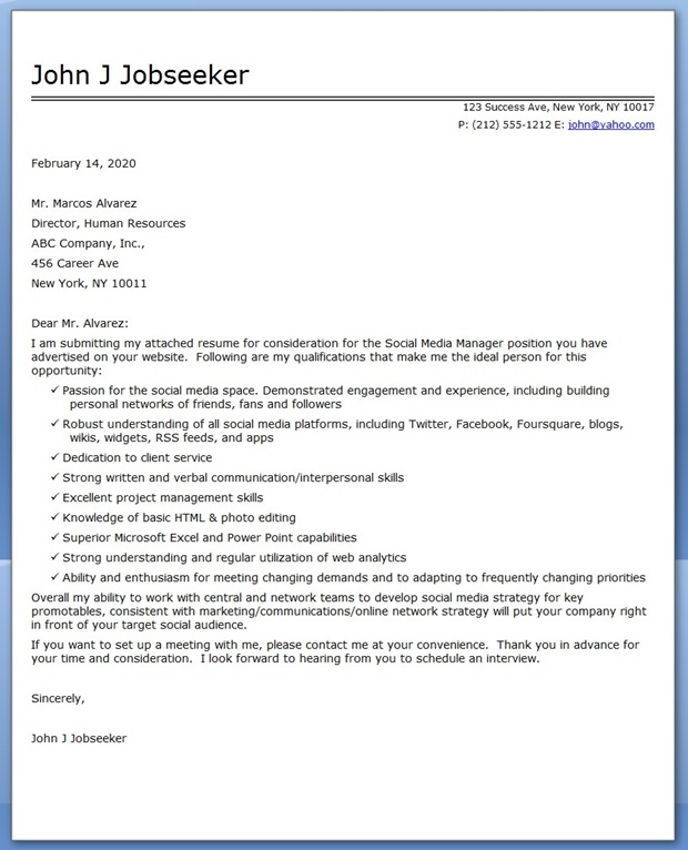 cover letters for social service jobs - social media manager cover letter