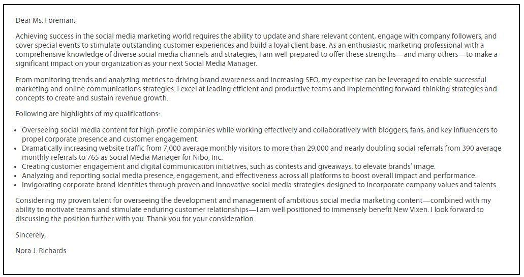 Social media cover letter ten taboos about social media for Cover letter for social media specialist