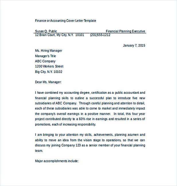 Accounting Job Cover Letter Word Template Free