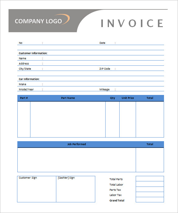Auto Repair Invoice Template Free Download
