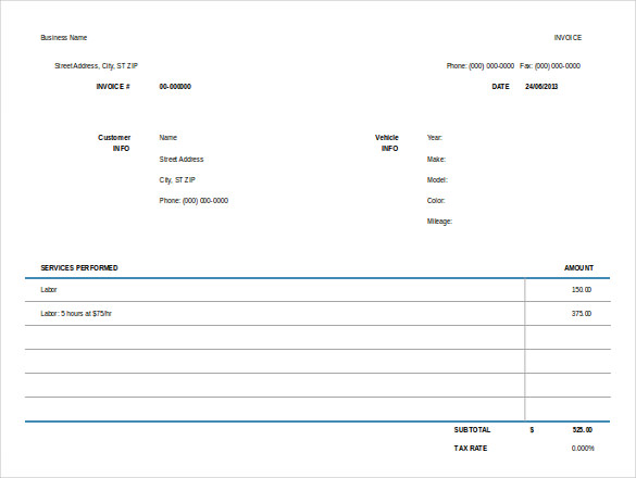 Auto RepairInvoice Free Excel Format Template