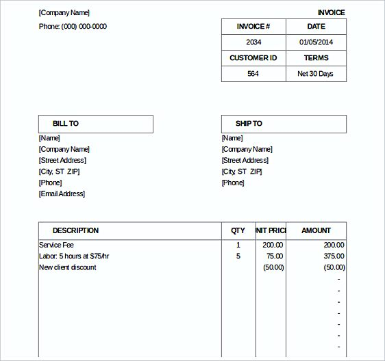Billing Invoice templates