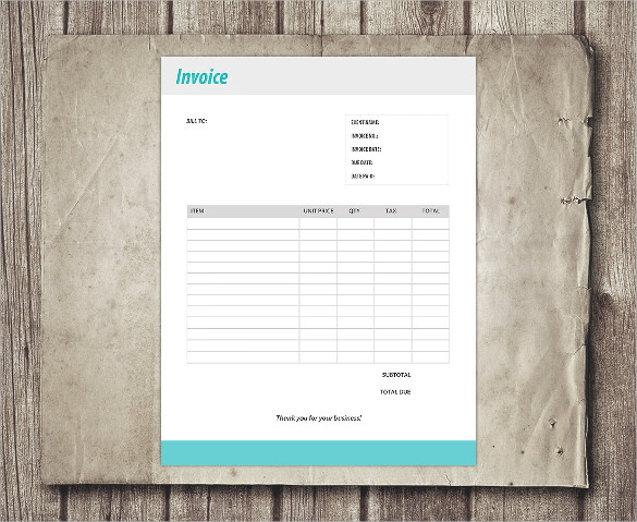 Business Client Blank Payment Invoice Form