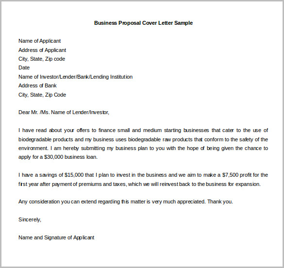 Business Proposal Plan Cover Letter Sample