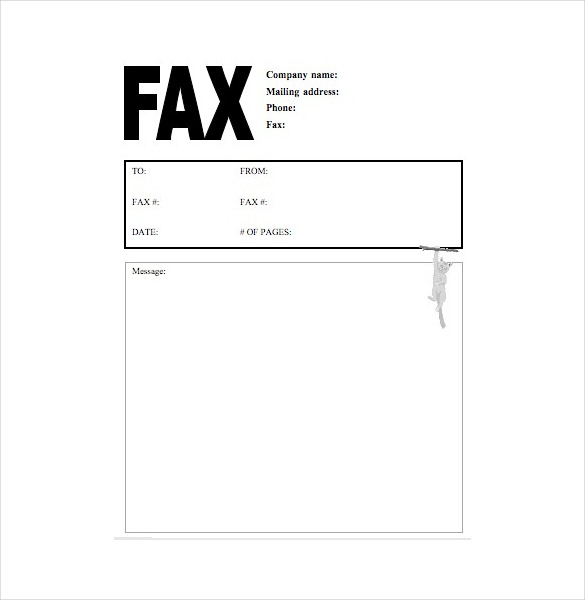 Cat Fax Cover Letter Free Word Template