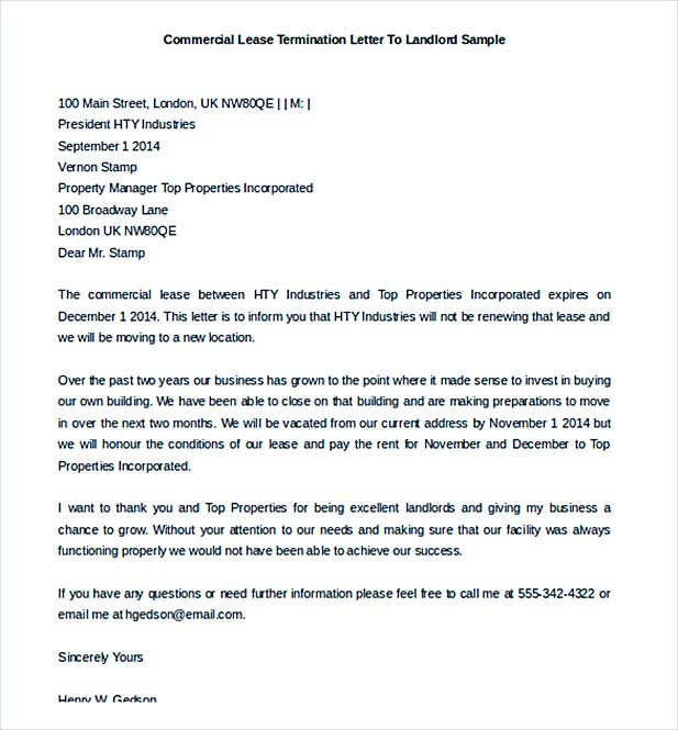 Commercial Lease Termination Letter to Landlord Free