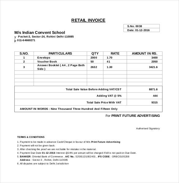 Computer Generated Invoice Format