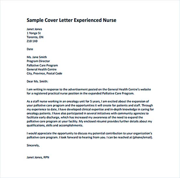 Cover Letter for Experienced Nurse Template Free