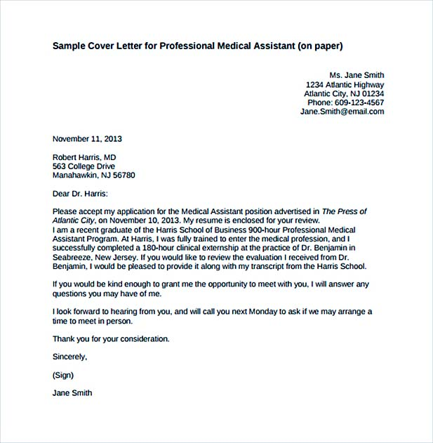 Cover Letter for Professional Medical Assistant PDF Free