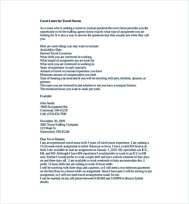 Cover Letter for Travel Nurses Word Template Free