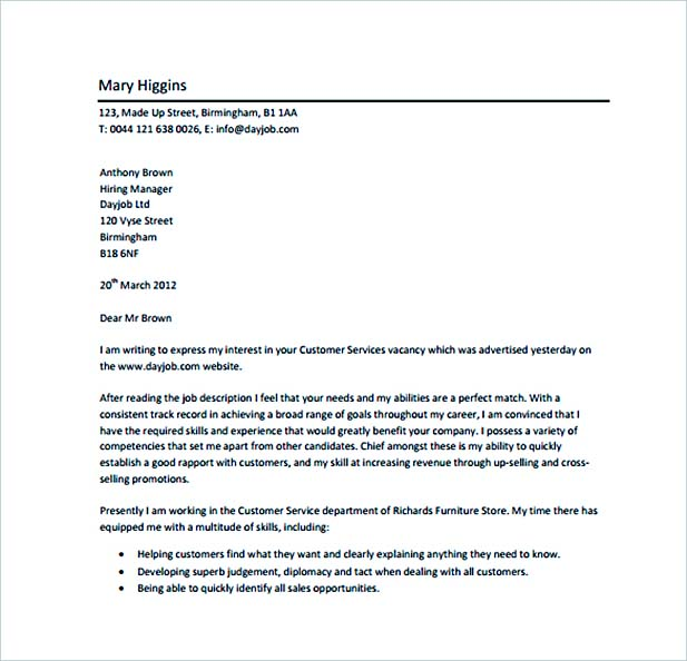 Customer Service Professional Cover Letter PDF Free