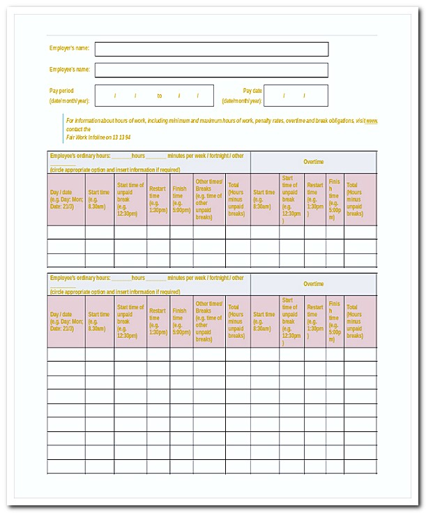 Daily Payroll Template
