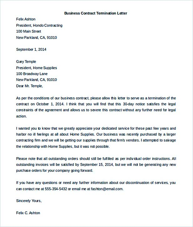 Termination Letter Sample  How It Should Be Written And Edited