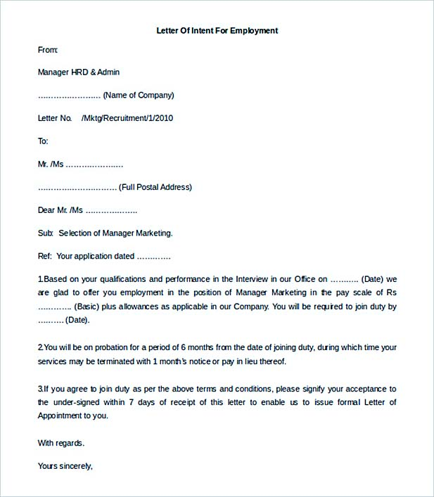 editable letter of intent for employment - Letter Of Intent For Employment Template