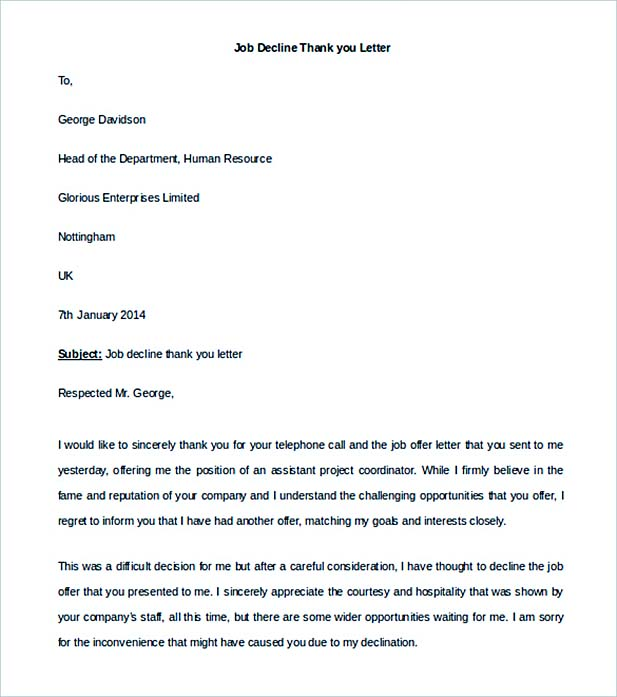 Editable Job Decline Thank You Letter Template  Thank You Letter After Offer