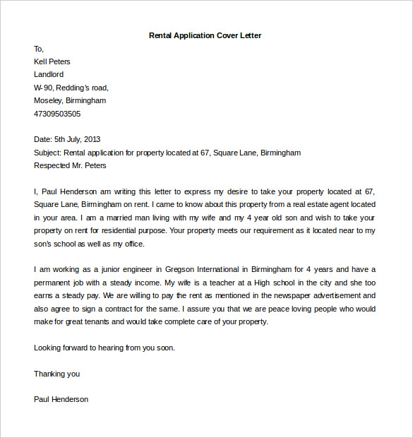 Editable Rental Application Cover Letter Template