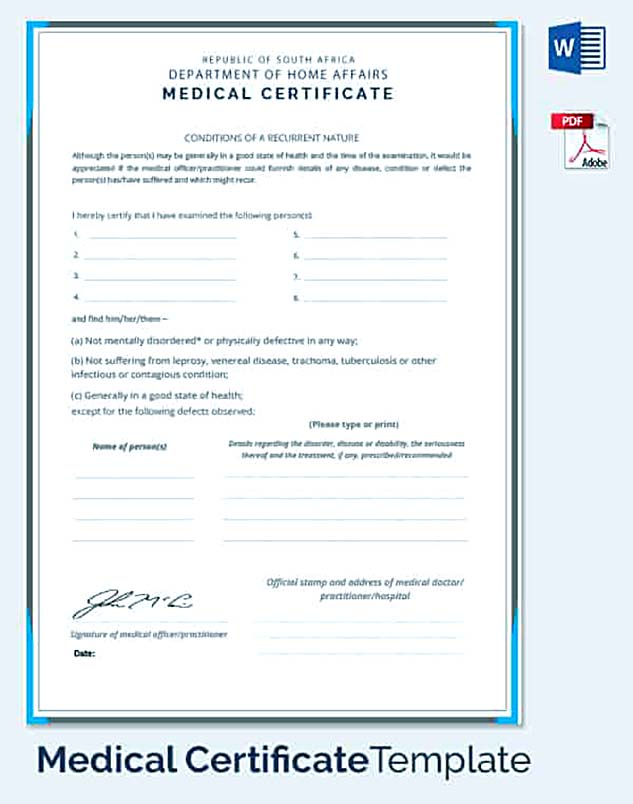 Employee Mediacl Condition Certifictae