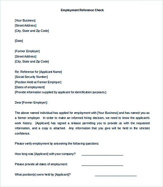 Employer Reference Check Letter Template Sample Download