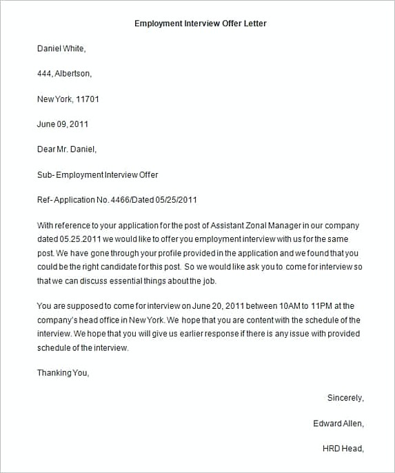 Employment Interview Offer Letter Word