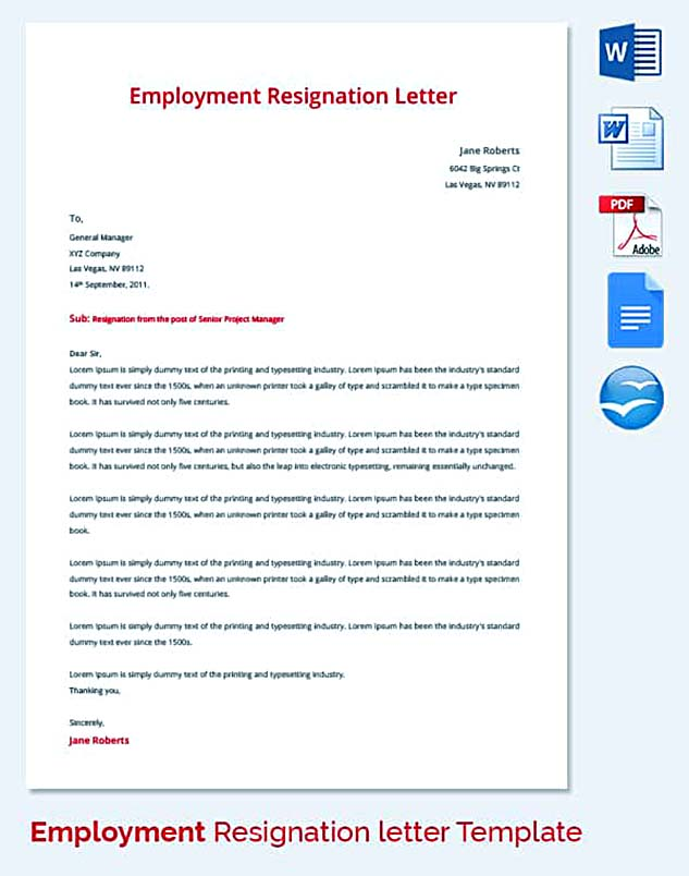 Email Resignation Letter Example PDF Free Employment Resignation Letter  Employment Resignation Letter