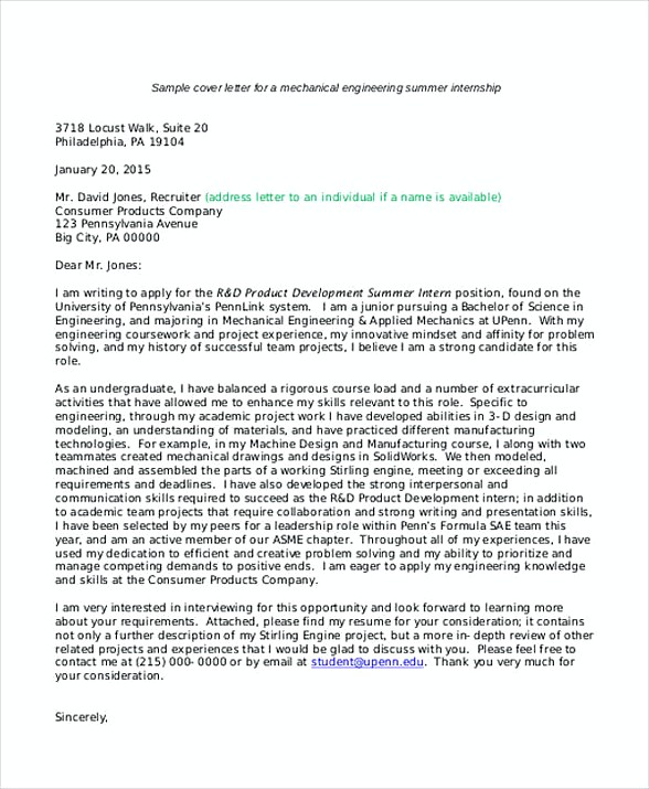 quick cover letter application cover letter example college internship engineering internship cover letters