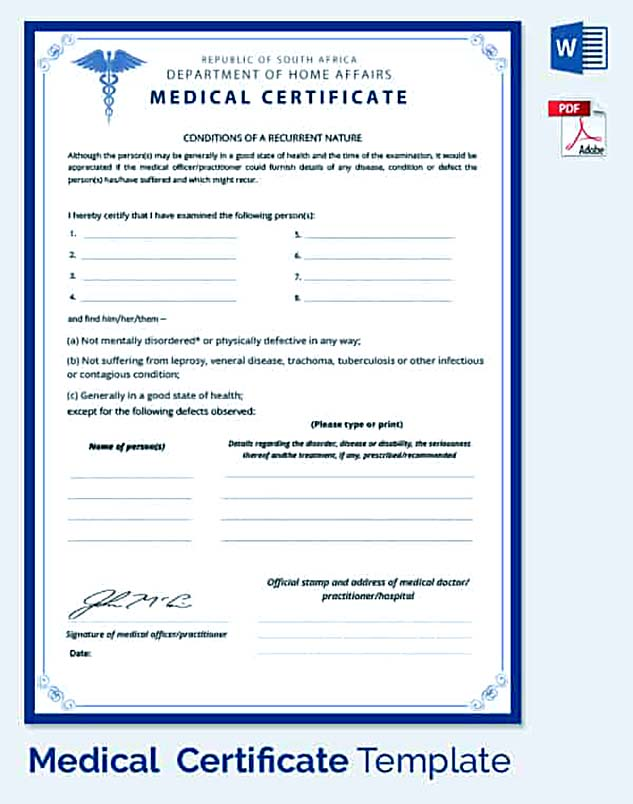 Medical leave application for the further action for Dr certificate template