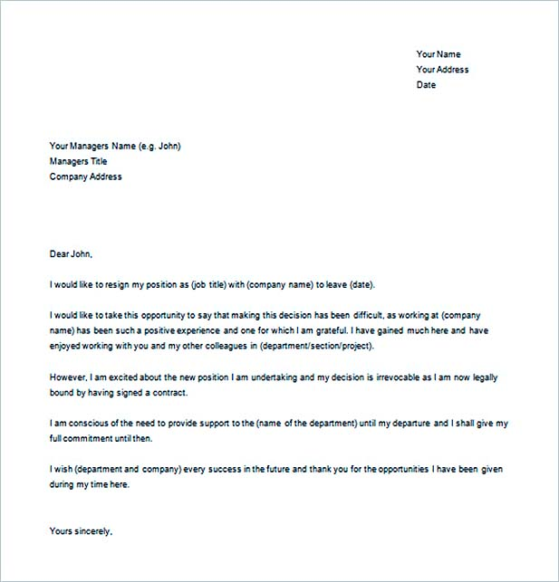 Example Resignation Letter for New Job Word Free