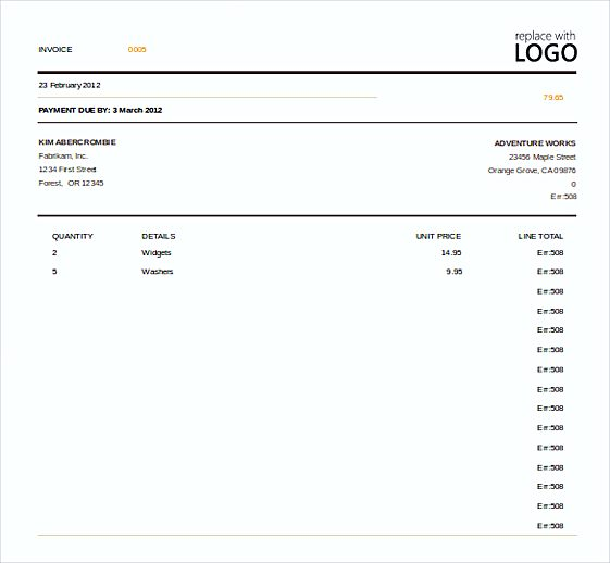 Excel Invoice templates Free