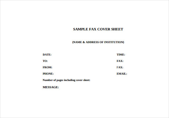 Fax Cover Letter Free Template