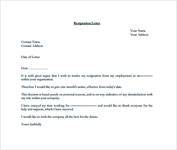 Formal Resignation Letter for One Month PDF Template