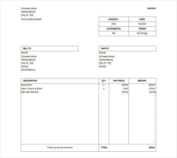 Free Download Microsoft Billing Invoice Doc Format