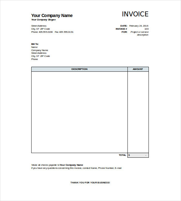 Free Excel Invoice Template  Work Invoice Template Free
