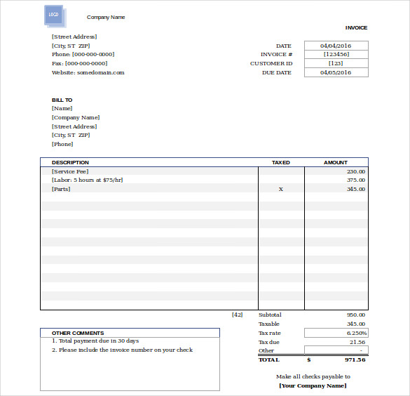 Free Invoice Template Doc Format Download