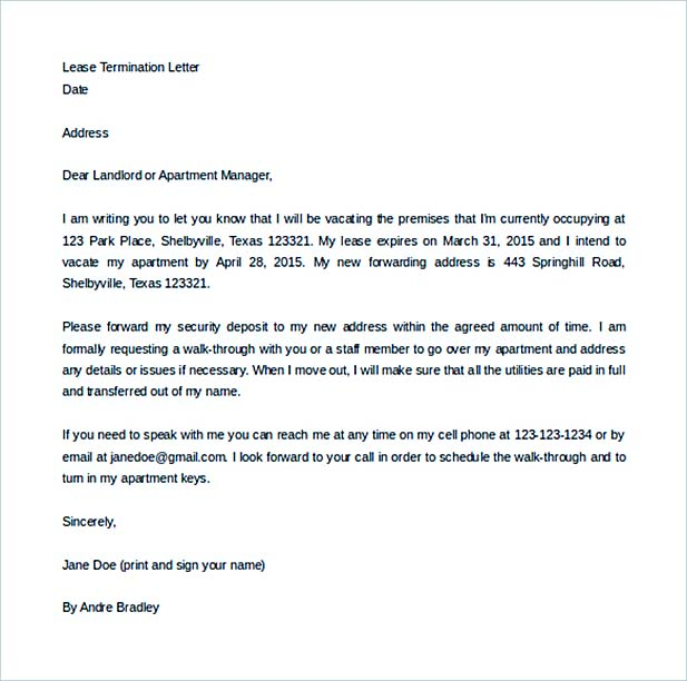Free Lease Termination Letter To Landloard For Security Deposit  Lease Termination Letter Template