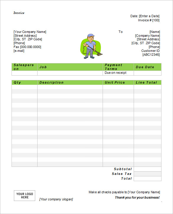 Free Microsoft Cleaning Service Invoice Template Word