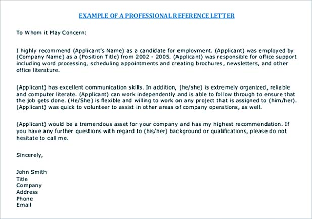 Free PDF Sample Reference Letter Template  Professional References Letter Template