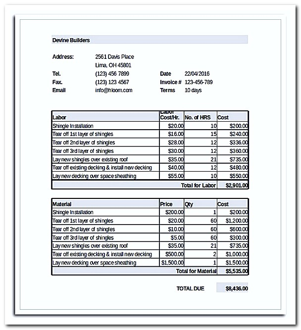 what to be included in roofing invoice template with example, Invoice templates