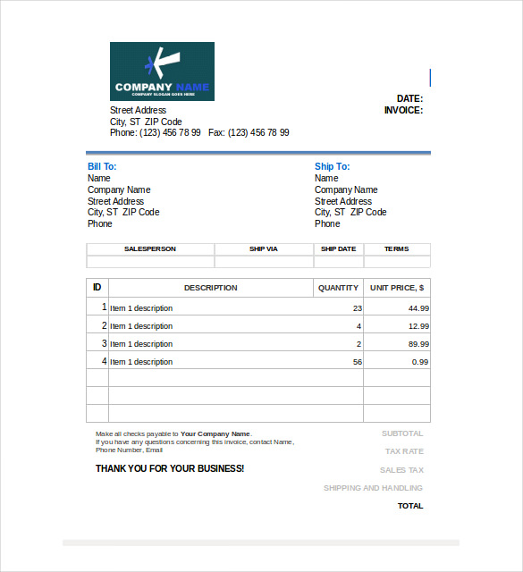 Free Sales Editable Invoice In Excel