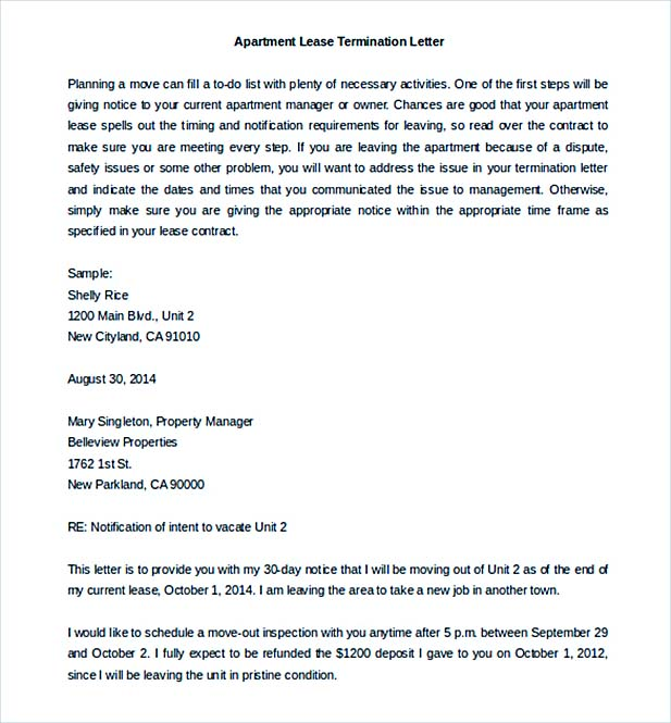 9 lease termination letter template free sample lease termination letter apartment template word doc spiritdancerdesigns Images