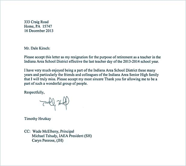 Free Teacher Resignation Letter to Principal PDF