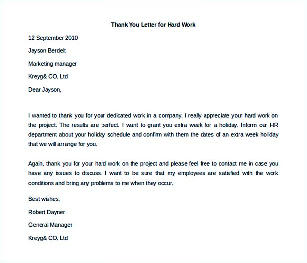 Thank You Letter To Employees. Thank You Letter To Employee For ...