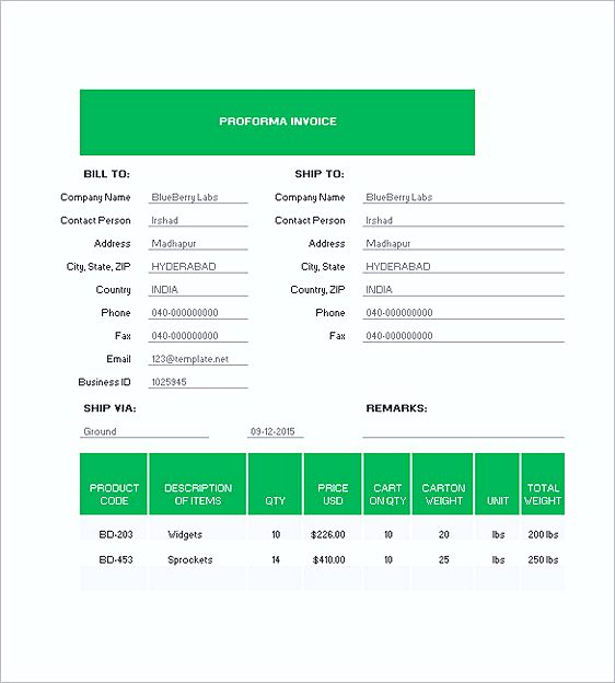 Free able Proforma Invoice templates