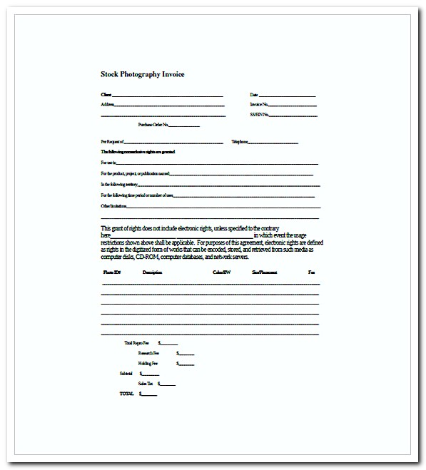 Photography Invoice Template For Professional Photo Services | How