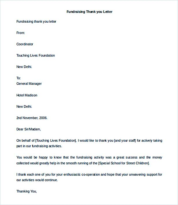 Fundraising Thank you Letter Template Editable