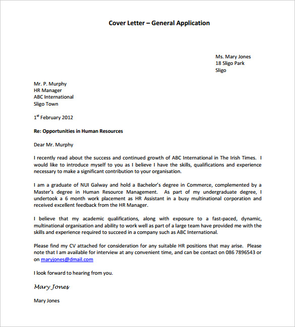 General Application Cover Letter TemplateFormat
