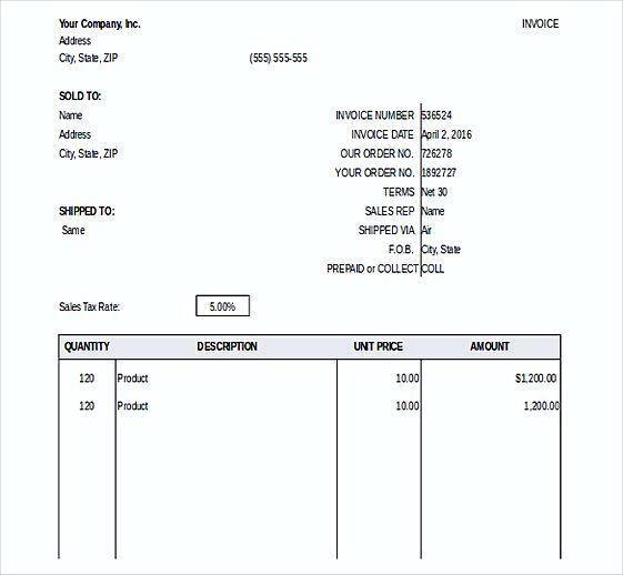 General Invoice templates