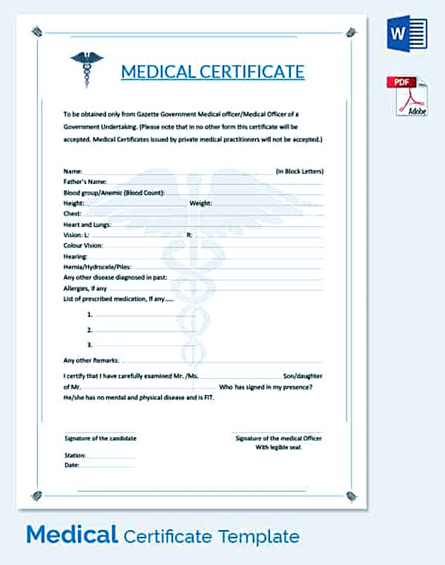 General Medical Certificate for Claim