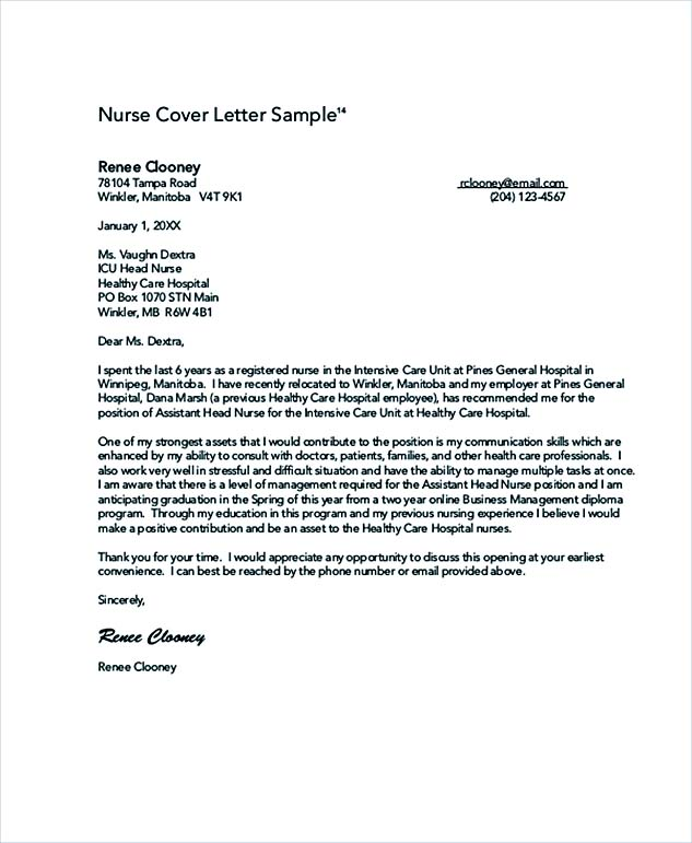 Pediatric Nurse Cover Letter. New Grad Nurse Cover Letter Example