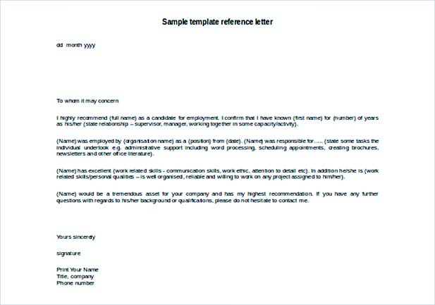 Guide To Providing A Sample Reference Letter Template